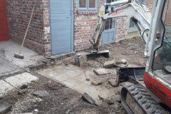 Terras opbreken & uitgraven met de kraan
